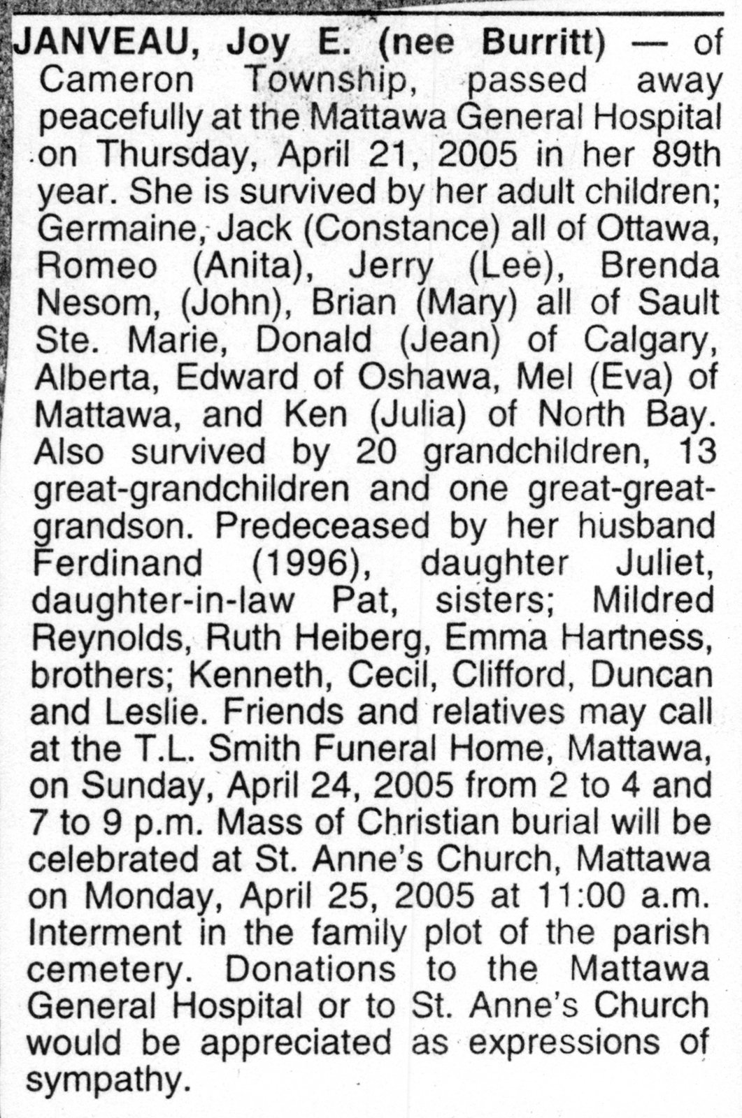 Nécrologie / Obituary Joy E. Janveau (née Burritt)