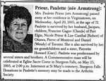 Nécrologie / Obituary Paulette Prieur (née Armstrong)