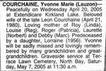 Nécrologie / Obituary Yvonne Marie Courchaine (née Lauzon)