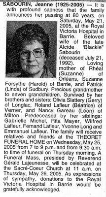 Nécrologie / Obituary Jeanne Sabourin