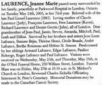 Nécrologie / Obituary Jeanne Marie Laurence