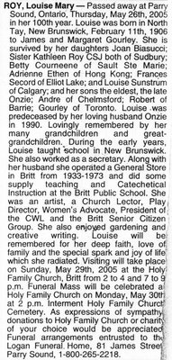 Nécrologie / Obituary Louise Mary Roy (née Gourley)