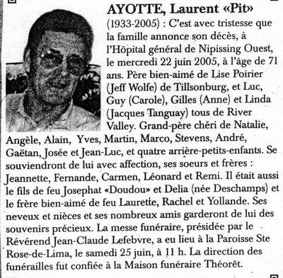 """Nécrologie / Obituary Laurent """"Pit"""" Ayotte"""