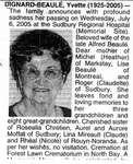 Nécrologie / Obituary Yvette Dignard-Beaulé