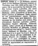 Nécrologie / Obituary Victor J. Dupuis