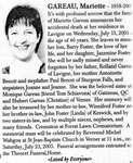 Nécrologie / Obituary Mariette Gareau