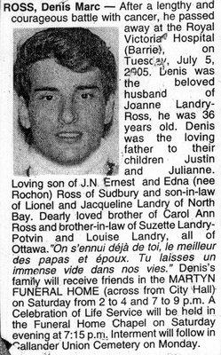 Nécrologie / Obituary Denis Marc Ross