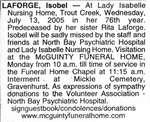 Nécrologie / Obituary Isobel Laforge