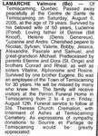 "Nécrologie / Obituary Valmore ""Bo"" Lamarche"