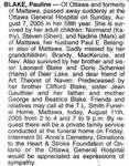 Nécrologie / Obituary Pauline Blake