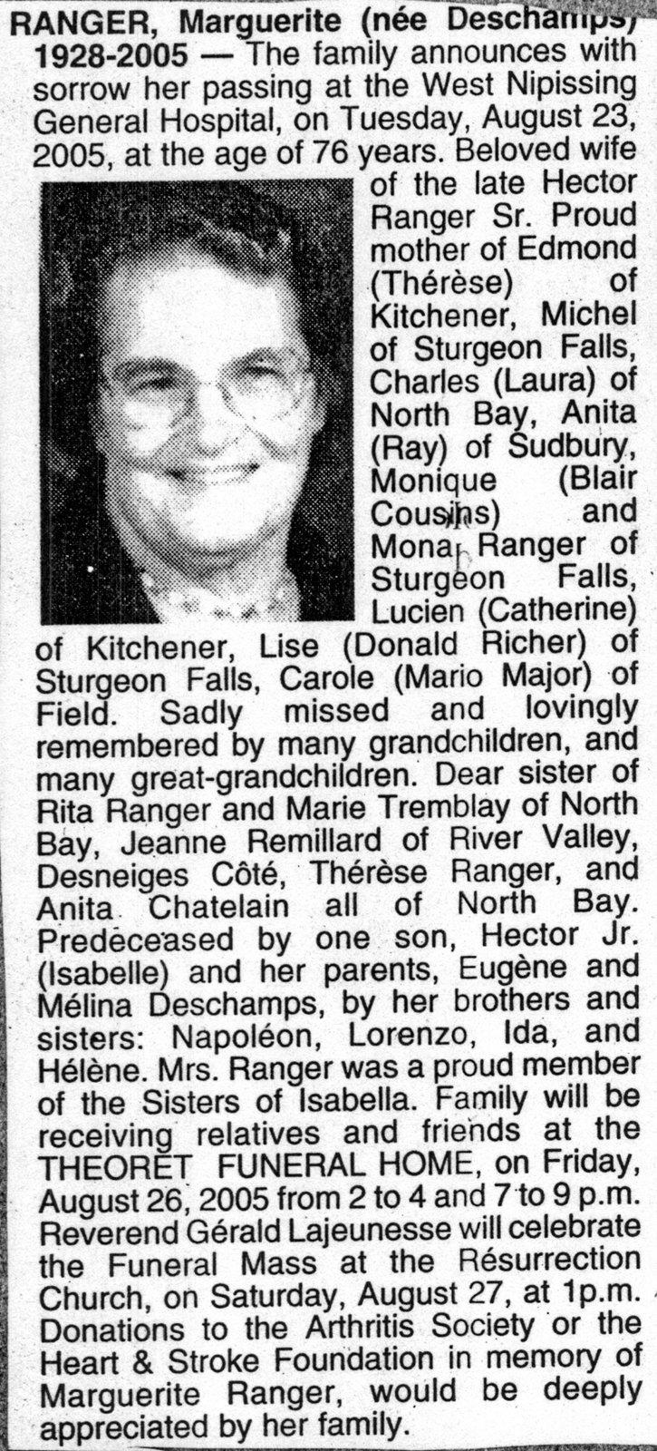 Nécrologie / Obituary Margierite Ranger (née Deschamps): West ...