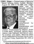 Nécrologie / Obituary Edgar Lebel