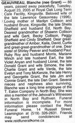 Nécrologie / Obituary Blanche Geauvreau (née Grant)