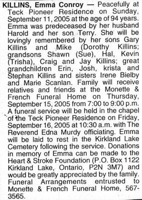 Nécrologie / Obituary Emma Conroy Killins