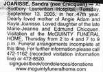 Nécrologie / Obituary Sandra Joanisse (née Chicquen)