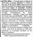 Nécrologie / Obituary Mike Lafond