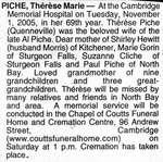 Nécrologie / Obituary Thérèse Marie Piche (née Quenneville)