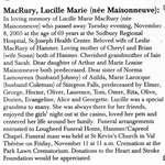 Nécrologie / Obituary Lucille Marie MacRury (née Maisonneuve)