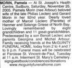 Nécrologie / Obituary Pamela Morin (née Arbour)