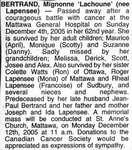 Nécrologie / Obituary Mignonne 'Lachoune' Bertrand (née Lapensee)