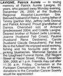 Nécrologie / Obituary Patrick Aurele Lavigne