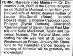 Nécrologie / Obituary Marcelle Turin (née Marier)