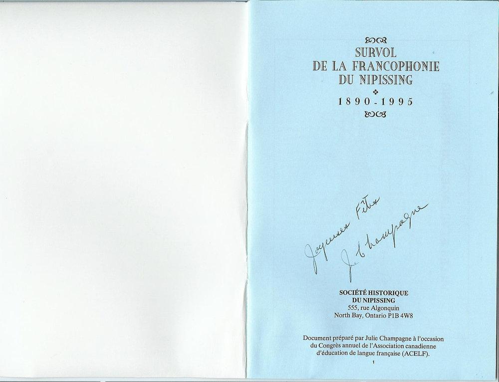 Survol de la Francophonie du Nipissing 1890-1995