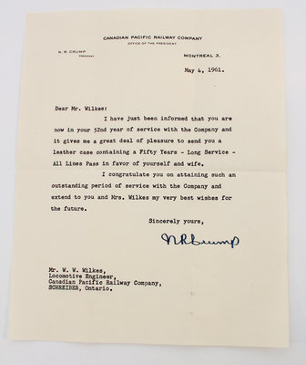 52nd Year of Service Letter