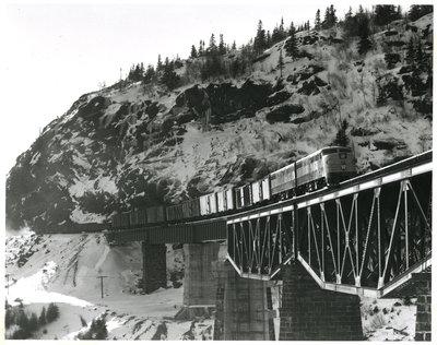 Framed Photograph of Engine on Middleton Bridge