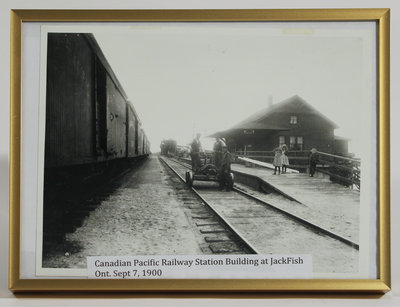Framed Photograph of Canadian Pacific Rail Station at Jackfish