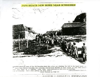 """Newspaper Article - """"Japs Reach New Home Near Schreiber"""""""