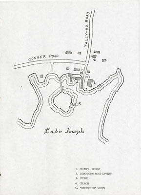 """Hand drawn Map of the Summit House, Ditchburn Boat Livery, and the """"Nipissing"""" Wreck."""