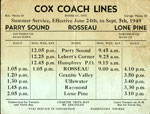 Cox Coach Lines Summer Bus Schedule