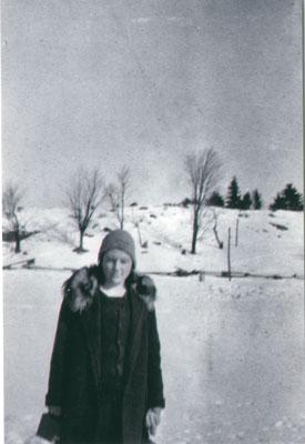 Unknown woman in winter coat