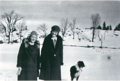 Unknown girl with Alma and Snap in winter