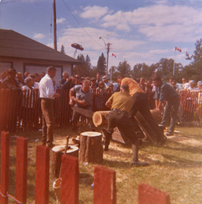 Men in Sawing Competition, South River Agricultural Society Fall Fair, circa 1970