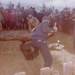 Two Elderly Men Sawing a Log, South River Agricultural Society Fall Fair, circa 1970