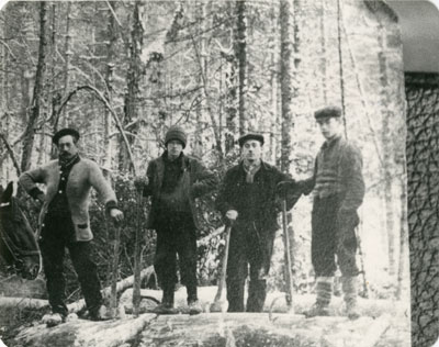 Postcard of Loggers in Turn of the Century South River