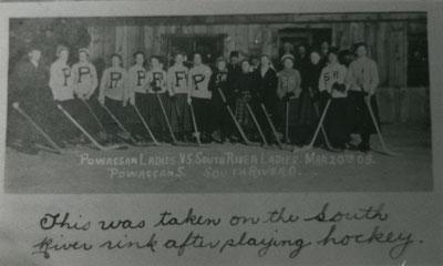 Powasson Ladies vs. South River Ladies, Hockey Game, March 20, 1909