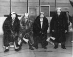 Four Men in a Curling Spoof, circa 1950