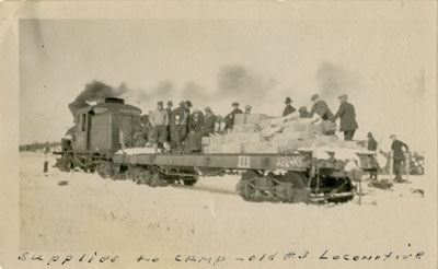 Supplies to Lumber Camp, #3 Locomotive, circa 1930