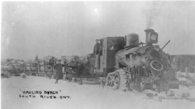 """Hauling Birch"" Postcard, South River, circa 1920"