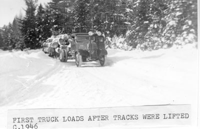 First Truck Loads After Tracks were Lifted, circa 1946