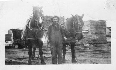 Bill Loney at the Lumber Mill, circa 1930