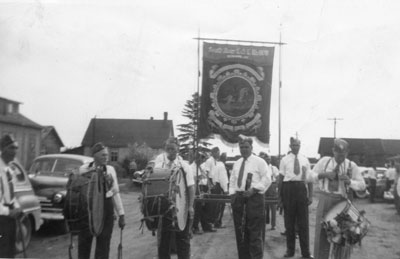 Orange Lodge Banner in a Parade in South River, circa 1940