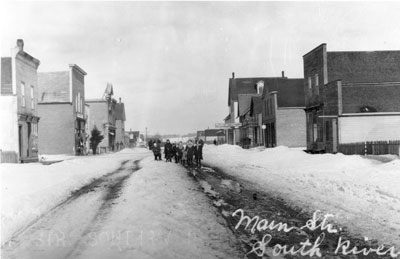 Snow Covered Main Street, South River, circa 1910