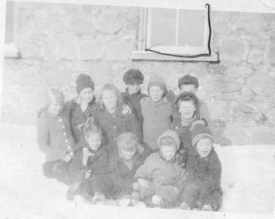 S.S. #1 Machar Group of Children in the Snow, circa 1920