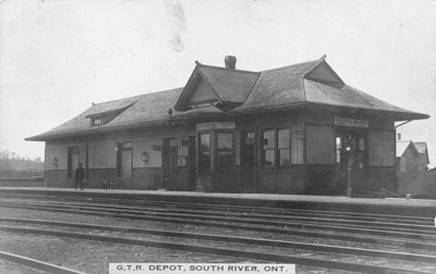Grand Trunk Railway Depot, South River, Postcard, circa 1940
