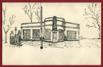 Sketch of Gas Station, South River, circa 1960