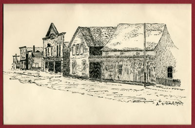 Sketch of South River's Main Street, circa 1890